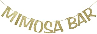 Mimosa Bar Sign Banner Gold Glitter Decorations for Bridal Shower Bubbly Bar Champagne Brunch Baby Shower Wedding Engagement Birthday Party Graduation Fiesta
