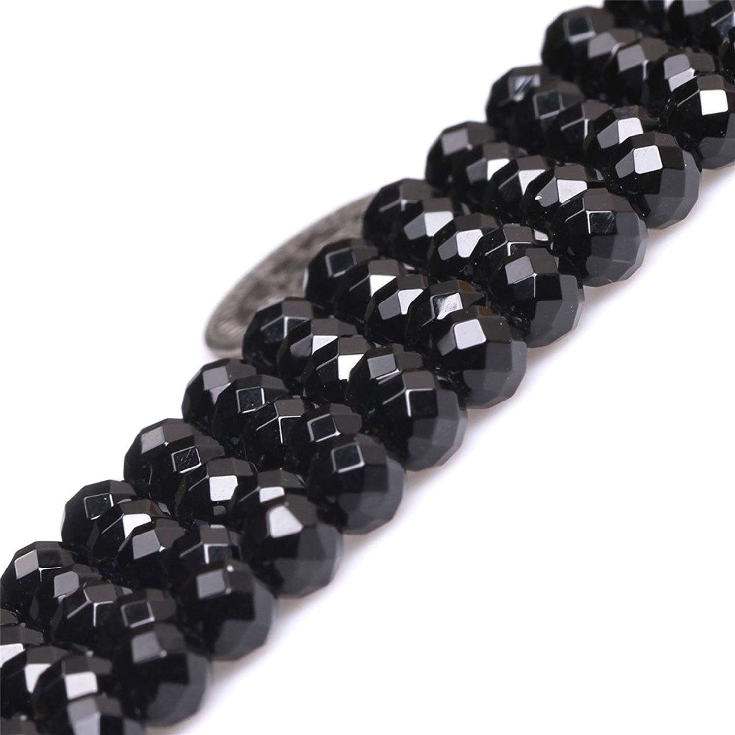 JOE FOREMAN 6mm Black Agate Semi Precious Gemstone Round Faceted Loose Beads for Jewelry Making AAA Grade DIY Handmade Craft Supplies 15