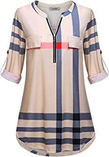 Women's Zip Up V Neck 3/4 Rolled Sleeve Casual Tunic Shirt
