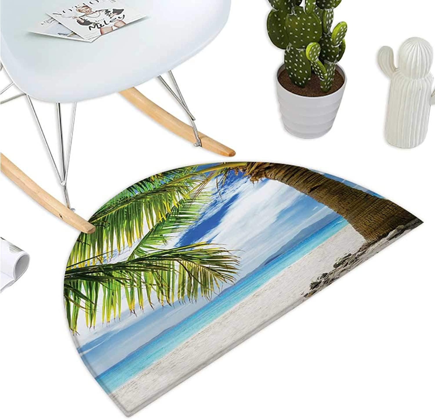 Lonely Palm Tree Semicircle Doormat Sandy Beach Isolated Philippines Hot Sunny Travel Destination Entry Door Mat H 39.3  xD 59  Green Coconut bluee