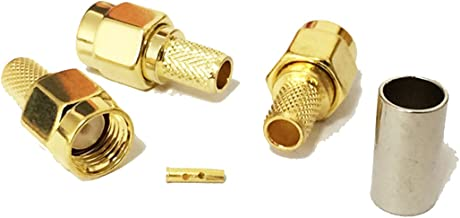 10pcs RP SMA Male Plug RF coaxial Connector Crimp for RG58 Straight goldplated New USA Shipping