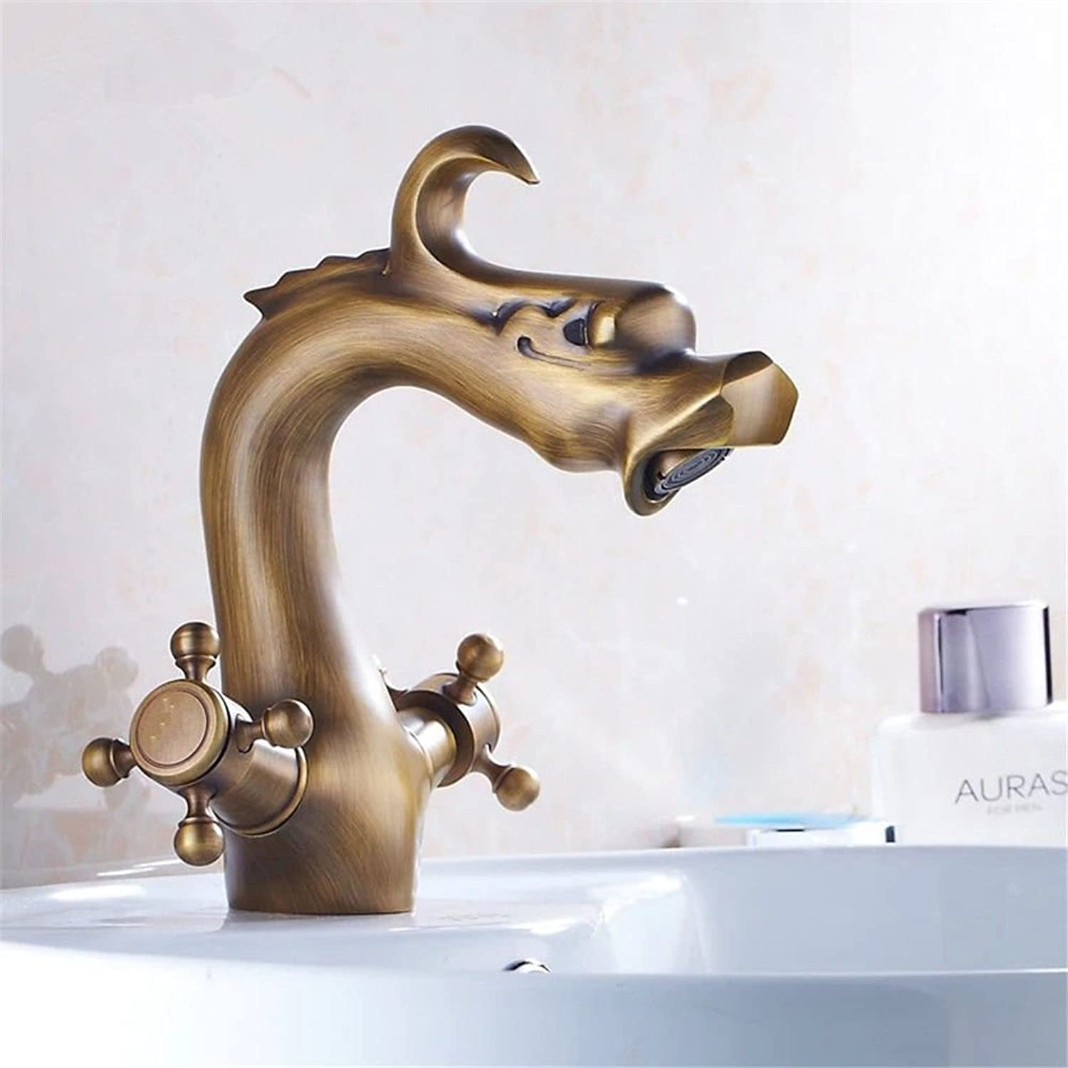 Lalaky Taps Faucet Kitchen Mixer Sink Waterfall Bathroom Mixer Basin Mixer Tap for Kitchen Bathroom and Washroom Antique Double Seated