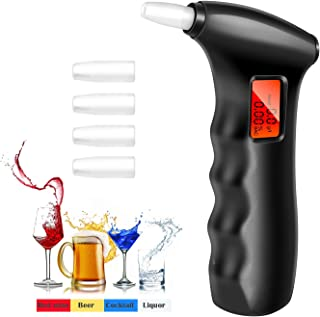Professional Breathalyzer, Portable Breath Alcohol Tester Digital Alcohol Detector - High Accuracy Semiconductor Sensor Personal Breathalyzers (with 5 Mouthpieces)