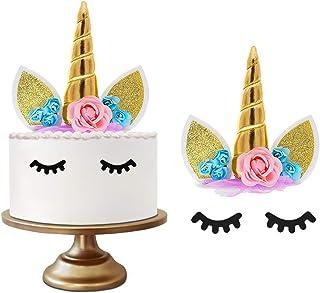 YQHbe GâTeau Licorne, Anniversaire Licorne-DéCoration - Kit Anniversaire Licorne Deco Gateau Cake Topper Accessoire pour F...