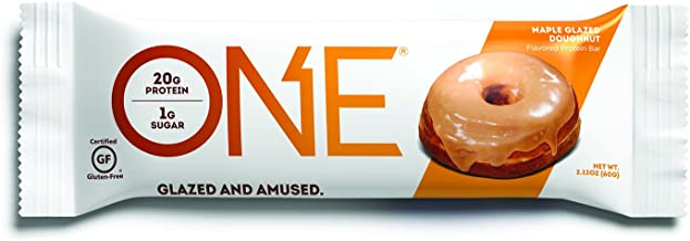 ONE Protein Bars, Maple Glazed Doughnut, Gluten Free Protein Bars with 20g Protein and only 1g Sugar, Guilt-Free Snacking for High Protein Diets, 2.12 oz (12 Pack), Donut, Maple Glazed