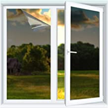 Yzakka Light Filtering Window Film Anti UV No Glue Sun Control Heat Control Residential Window Films for Glass Self Adhesive for Home Bedroom Bathroom Kitchen Office Dark (17.7inchX13.2ft)