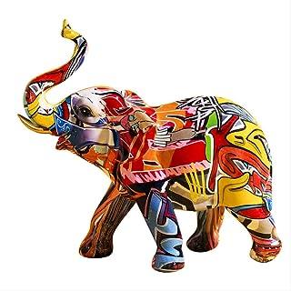 LISAQ Creative coloré Graffiti éléphant Sculpture Animal Statue Ornement créatif rétro Figurine décoration de la Maison Ac...