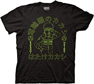 Ripple Junction Naruto Shippuden Adult Unisex Kakashi Sharingan Outline Light Weight 100% Cotton Crew T-Shirt