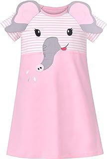 Sunny Fashion Girls Dress T-Shirt Cotton Bird Embroidered Short Sleeve Size 2-6 Years