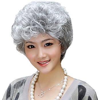 Women Lolita Daily Grandma Gray Long Curly Braids Cosplay Wig Heat Resistant+Cap