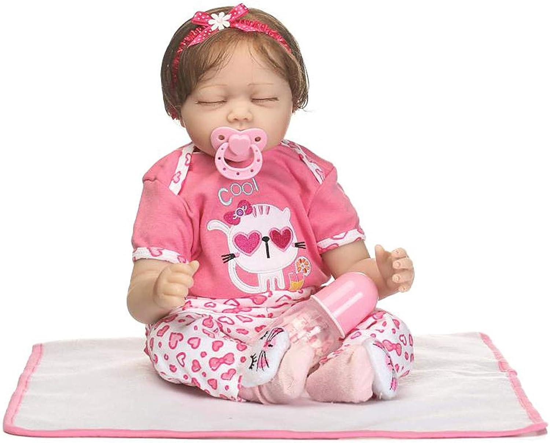 disfrutando de sus compras JAGENIE 22 Pulgadas de de de Silicona recién Nacido Realista durmiendo los Ojos Cerrados muñeca bebé muñeca de Dibujos Animados Gato Ropa Arco Diadema Infantil temprana Juguetes para Niños  n ° 1 en línea