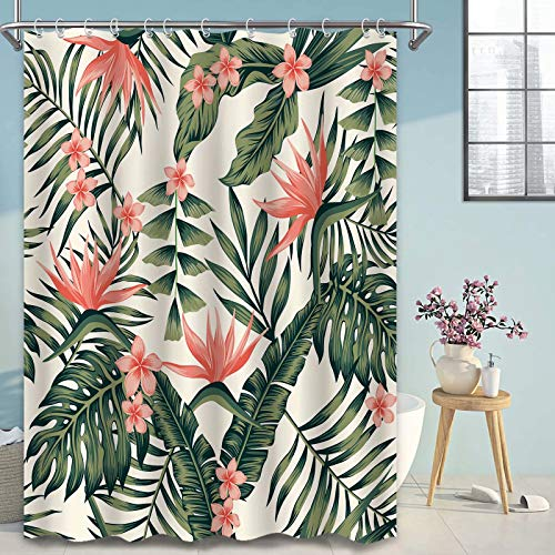 Tropical Palm Shower Curtain for Summer Bathroom Decor, Green Tree Red Flowers Bath Shower Curtains Set with Hooks, Fabric Machine Washable 72x72 Inches