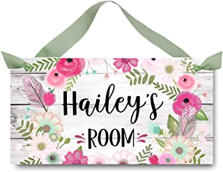Toad and Lily Pink Floral Wreath Personalized Girls Bedroom Baby Nursery Door Sign Wall Art DS0480