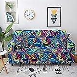 WXQY Funda de sofá geométrica elástica Funda de sofá elástica a Prueba de Polvo Funda de sofá de Esquina combinada Funda de protección de Muebles A2 3 plazas