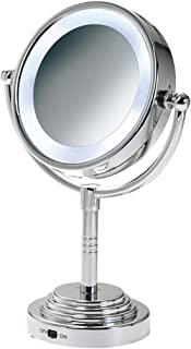 Ovente MLT28C LED Battery-Operated Tabletop Vanity Mirror, 1X/5X Magnification, Chrome Plated