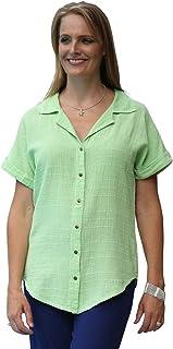 Ezze Wear Women`s Ronnie Cotton Gauze Snap Shirt Tunic Top