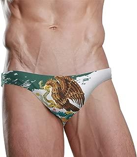 Mens Swim Bikini Briefs Drawstring Swimwear Sexy Bathing Suit Watercolor Mexican Flag Low Waist Boxers Swim Trunks
