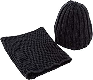 Perfeclan 2 in 1 Unisex Baby Soft Warm Knitted Hat & Scarf Winter Set 0-3T - Black, as described