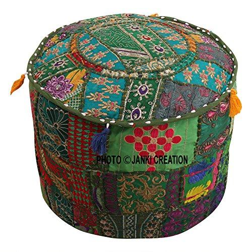 Taburete otomano bordado de algodón con diseño de patchwork, color turquesa, verde, floral, estuche para puf, reposapiés, funda de cojín, decoración étnica, funda para puff (22 x 22 x 14)