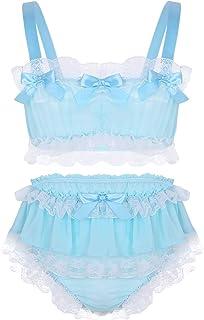 MSemis Men's Crossdress Ruffled Lace Sissy Lingerie Set Spaghetti Crop Top with Skirted Panties