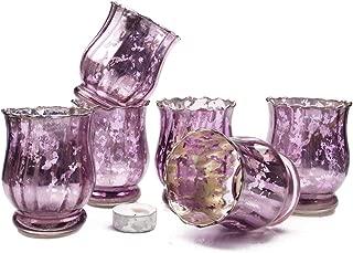 Chive - Vintage Mercury Glass Flower Vase, Candle Holder 6 Pieces Purple Silver