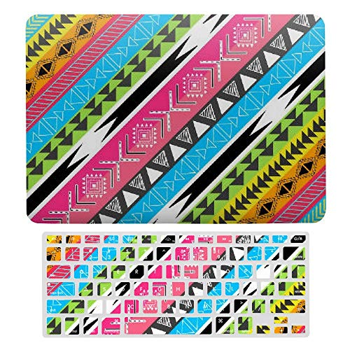 MacBook Pro 13 inch Case 2020 2019 2018 2017 Release A2159 A1989 A1706, Plastic Hard Protective Laptop Case Shell With Keyboard Cover, Awesome Cool Trendy Aztec Tribal Andes Bright Neon