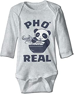 Printed Panda Eating Pho Soup Kawaii Infant Baby Girl Boys Long Sleeves Romper Jumpsuit