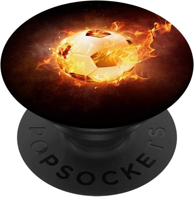 Fußball Feuerball Ball Fußballer Flamme Feuer Geschenk Popsockets Popgrip Ausziehbarer Sockel Und Griff Für Handys Tablets Mit Tauschbarem Top Elektronik