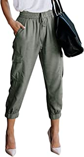Women's Elastic Waist Cargo Casual Drawstring Pants Ankle Length Jogger Cropped Trousers with Pockets