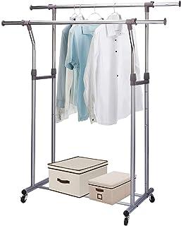 MIZGI Premium Clothes Drying Rack,2 Tier Clothes Rack,Portable Clothes Racks for Drying Clothes,Foldable Clothes Drying Rack,Laundry Rack Drying,Rolling Clothes Rack,Outdoor Indoor (Double Rod)