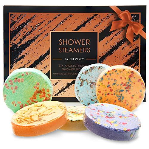 Cleverfy Aromatherapy Shower Steamers - 6 Shower Bombs. Black Gold Set: Lavender, Menthol, Bergamot & Mandarin, Pomegranate & Rose, Peony & Pear, Grapefruit, Peppermint & Lemongrass