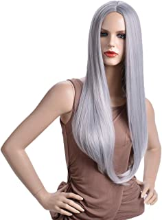 BERON 26'' Long Straight Hair Cosplay Costume Party Wig with Wig Cap (Silver Grey)
