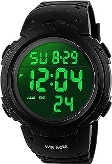 VDSOW Montre de Sport étanche avec Alarme/Chronomètre, Large Poignet Militaire avec rétro-éclairage LED pour Homme