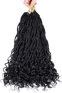 3Packs Goddess Box Braids Crochet Hair With Curly Ends Crochet Box Braids Hair Black 18 Inches 24 Stands Crochet Braids Synthetic Braiding Hair Extensions(#1B Black)