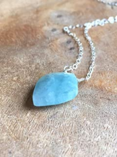 Raw Aquamarine Pendant Necklace 16 Inch Sterling Silver Chain March Birthstone Jewelry
