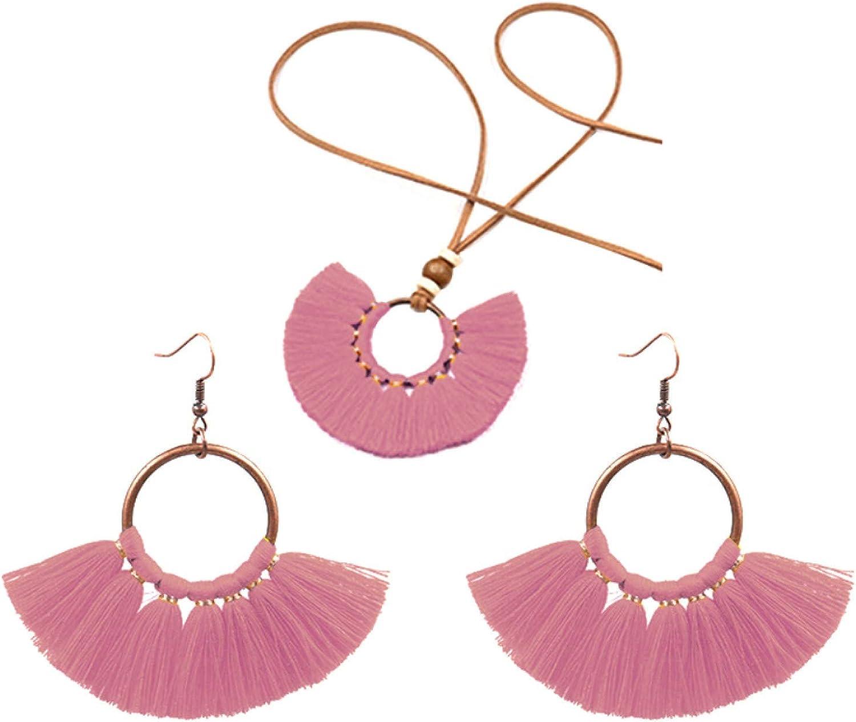 Women's Fashion Jewelry San Francisco Mall Sets Bohemian Fringe Tasse Round Pendant All items free shipping