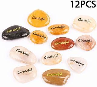 RockImpact 12PCS Grateful Engraved Inspirational Stones, Pocket Word Stone River Rock, Zen Chakra Healing Palm Worry Stone, Positive Motivation Encouraging Rocks, Prayer Gifts (Pack of 12, Grateful)