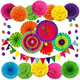 ZERODECO Party Decoration, 21 Pcs Multi-color Hanging Paper Fans, Pom Poms Flowers, Garlands String Polka Dot...