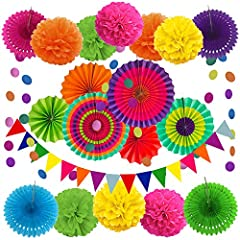 Includes: 1 x 6.5ft Triangular pennants, 8 x 10inch/25cm Paper pompoms, 6 x 10inch/25cm Paper fans, 4 x Paper hollow fans, 2 x 6.5ft Circle Paper Garland. ( Color: Multi-color) Per piece Hanging swirl length approx. 1.6ft/50cm after hanging up. Bring...