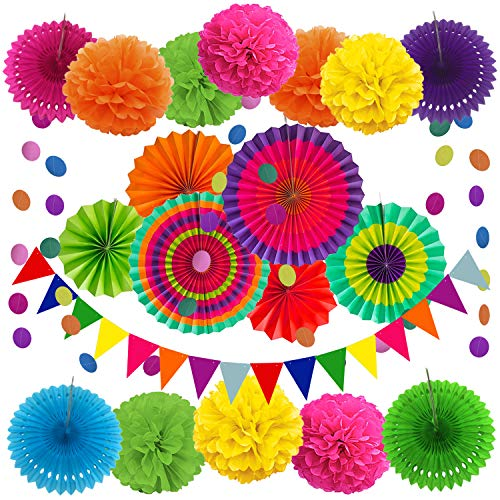 ZERODECO Party Decoration, 21 Pcs Multi-color Hanging Paper Fans, Pom Poms Flowers, Garlands String Polka Dot and Triangle Bunting Flags for Birthday Parties, Wedding D