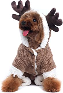 AOFITEE Pet Christmas Reindeer Costume Doggie/Cat Soft Comfy Coral Velvet Pajamas, Pet Warm Winter Hoodies Jumpsuits for Holiday Party