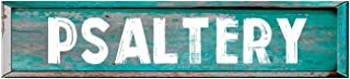 "ANY AND ALL GRAPHICS Psaltery 4""x18"" Rectangle Painted Wood Teal Color Weathered Look Novelty décor Composite Aluminum Beach Cottage Sign."