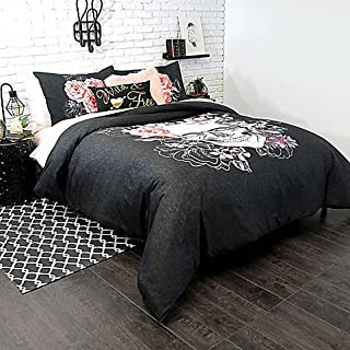 Alamode Home 2 Piece Comforter Set Sugar Skull Black, White, Pink and Grey TWIN XL