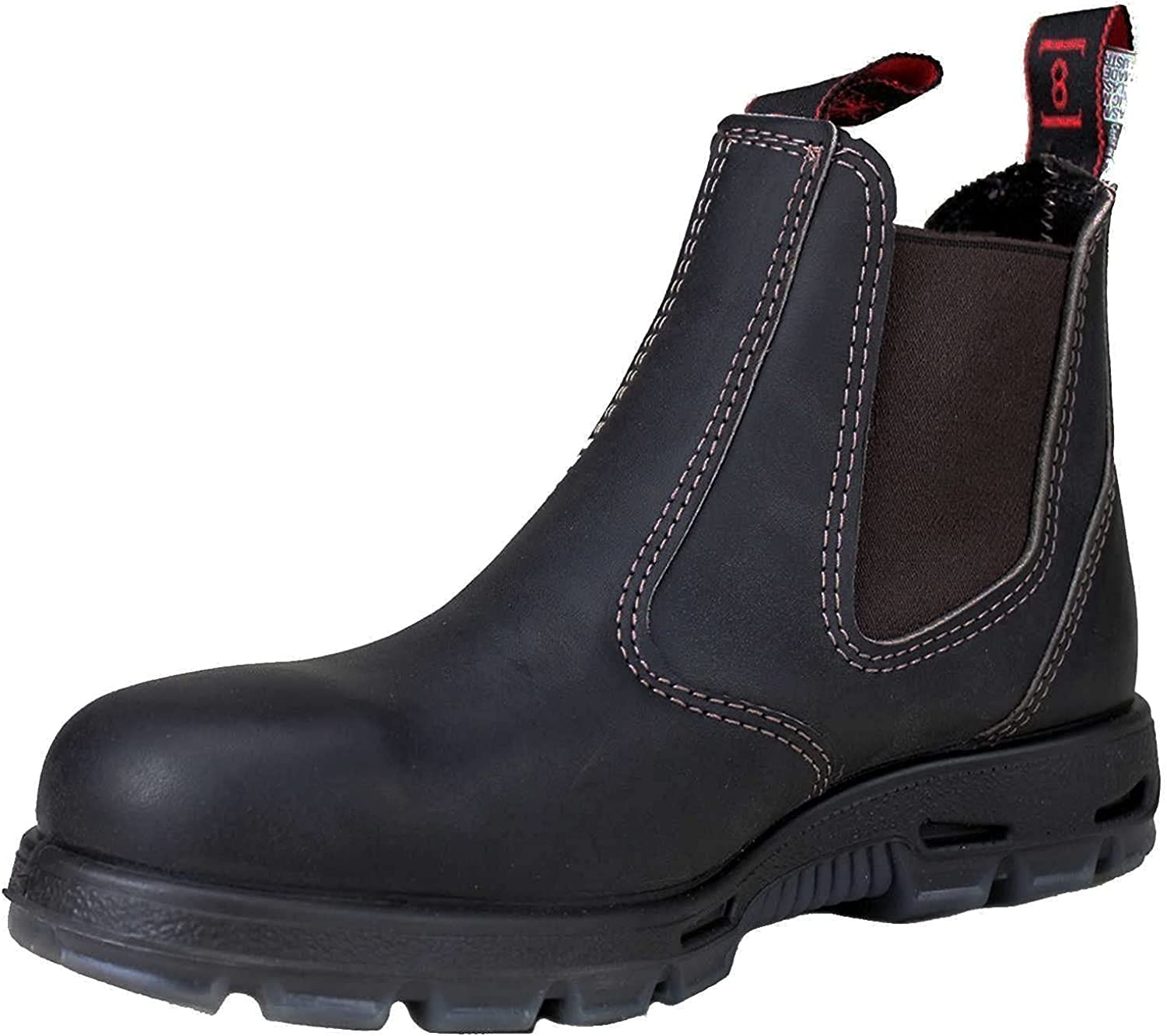   Redback Men's Safety Bobcat USBOK DARK BROWN Elastic Sided Steel Toe Leather Work Boot   Fire & Safety Boots