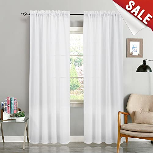 Casual Weave Textured Semi Sheer Curtains For Living Room White Voile 84 Inches Long Bedroom