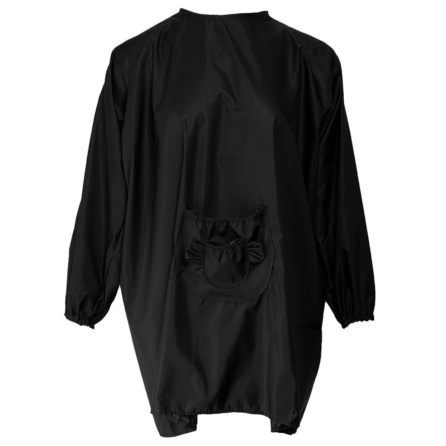オーバードローかんたんそれらLovoski ヘアケアケープ ヘアカット エプロン 散髪エプロン プロ サロン 美容院 ヘアスタイリング 防水 5色選べ - ブラック