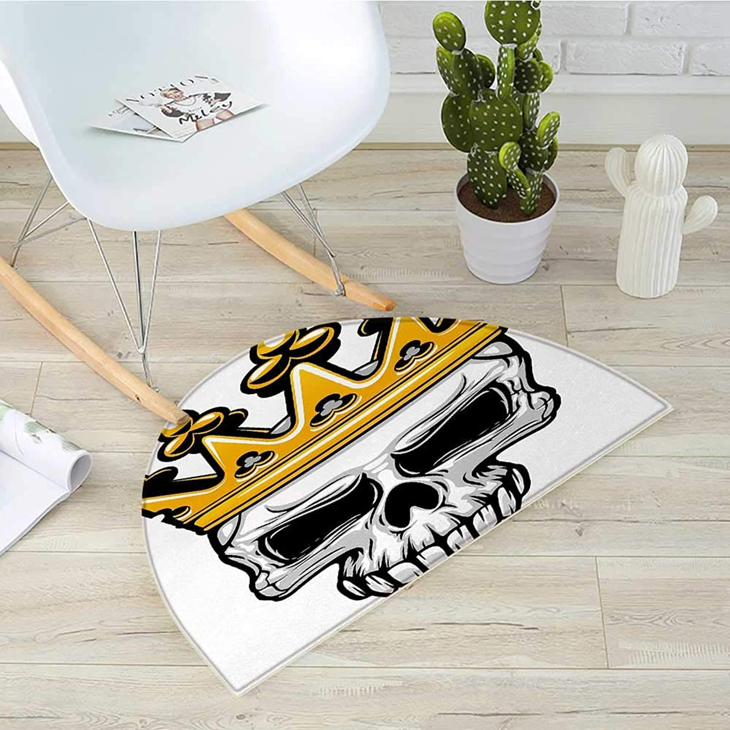 King Semicircular CushionHand Drawn Crowned Skull Cranium with Cgoldnet Tiara Halloween Themed Image Entry Door Mat H 31.5  xD 47.2  golden and Pale Grey