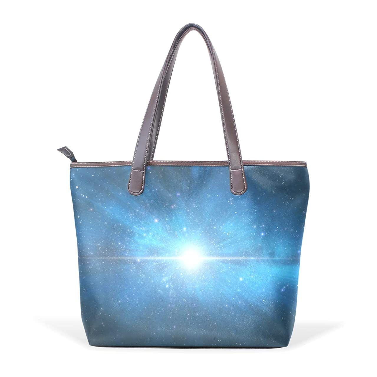 ミニチュアエーカー火山のバララ (La Rose) トートバッグ レディース ブランド a4 収納 大容量 通学 かわいい ブルー 青い 星空 宇宙柄 おしゃれ ハンドバッグ PU 革 通勤 丈夫 ファスナー付き ママかばん 手提げバッグ ビジネスバッグ