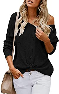 Ftifulvan Women's Tops Off Shoulder Solid Color Casual Knit Cardigan Sweater Button Down Shirts Blouse