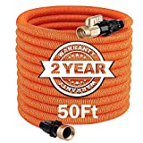 TACKLIFE 50FT Expandable Garden Hose with 3750D Double Latex Core, 3/4' Brass Connectors, Kink Free and Leak Free Flexible Water Hose - GGH1A